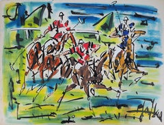 The Polo Players - Original handsigned gouache and watercolor