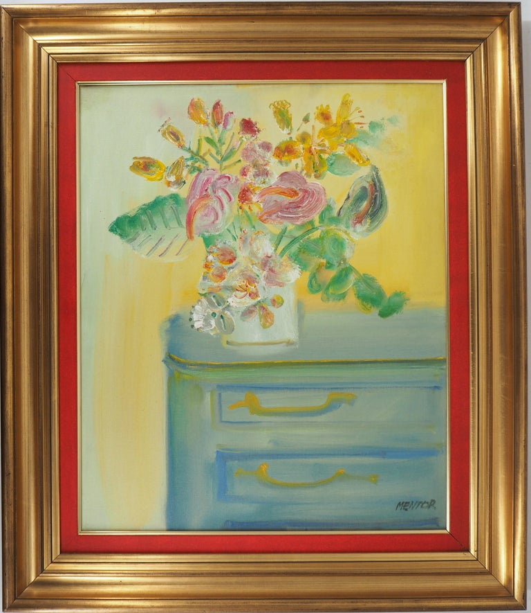 Blasco MENTOR Interior Painting - Yellow Bouquet on the Dresser - Original signed oil on canvas