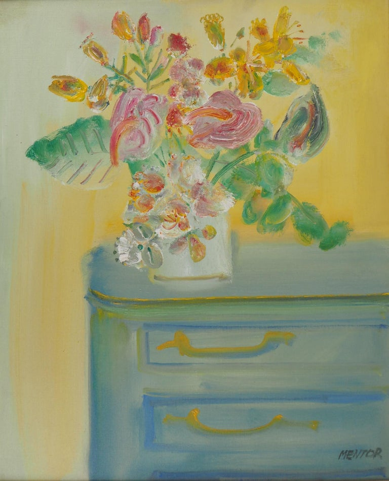Yellow Bouquet on the Dresser - Original signed oil on canvas - Modern Painting by Blasco MENTOR