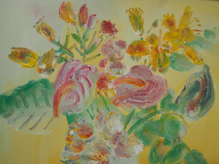 Yellow Bouquet on the Dresser - Original signed oil on canvas For Sale 1