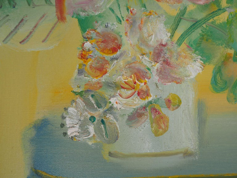 Yellow Bouquet on the Dresser - Original signed oil on canvas For Sale 3