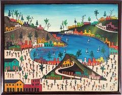 Haiti : Animated Beach - Original signed Oil on canvas