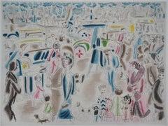 Paris 1920's : Animated Street near Bois de Boulogne - Original etching