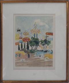 Las Vegas Strip in 1979 - Original watercolor, Handsigned