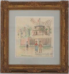 Montmartre : Le Moulin de la Galette - Original color drawing, Handsigned