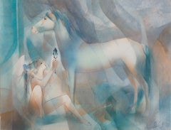 Young Woman and White Horse - Original watercolor, Handsigned