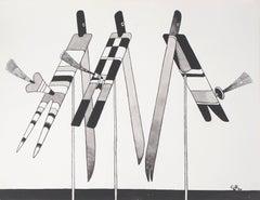 Conversation, Three Birds - Original ink drawing, Handsigned