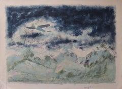 Saint Exupery : Flight over the Alpes - Original painting, Handsigned