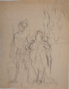 Elegant Woman with Guard - Original pencil drawing - With Certificate