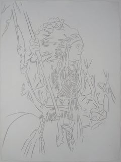 Indian : War Bonnet - Original hand-signed pencil drawing