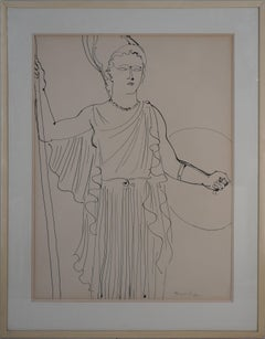 Fee Electricite, Athena Goddess of Wisdom and War - Original Drawing, Handsigned