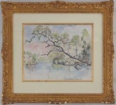 Spring : Landscape with a River - Original watercolor, Handsigned