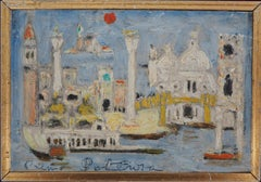 Venice With Red Sun - Original Oil Painting, Handsigned