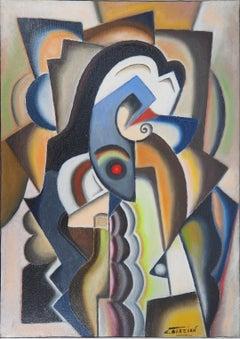 Cubist Portrait - Original oil on canvas, Handsigned