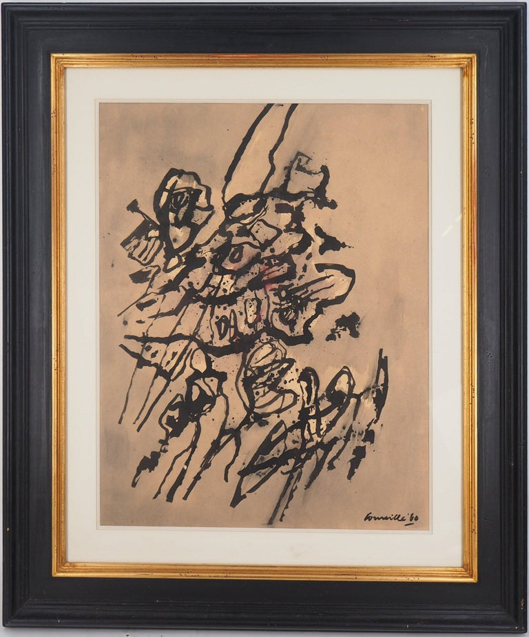 Guillaume Cornelis van Beverloo (Corneille) Abstract Drawing - Cobra Abstract Composition - Original Painting, Handsigned