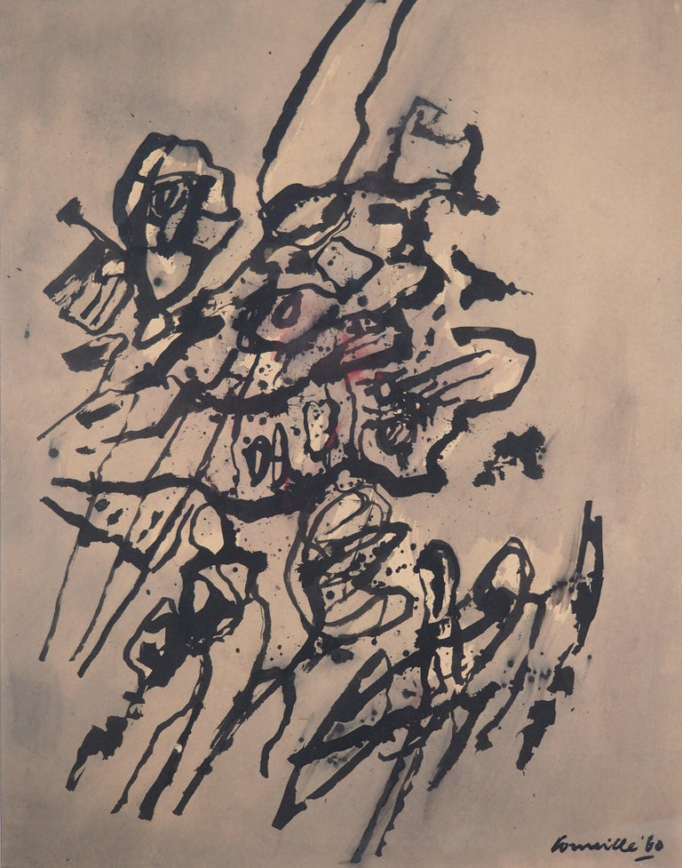 Cobra Abstract Composition - Original Painting, Handsigned - Beige Abstract Drawing by Guillaume Cornelis van Beverloo (Corneille)