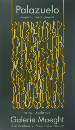 Abstract : Geometric Lines - Original vintage lithograph poster - Maeght 1978
