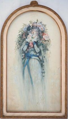 Theater : Sarah Bernhardt with Flowers - Original Watercolor, Handsigned