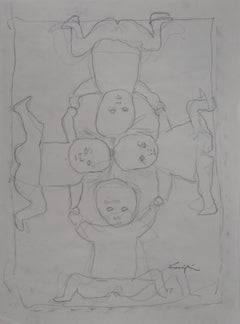 Playing Kids - Original pencil drawing, Handsigned