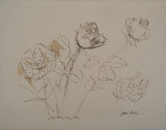 Bouquet of Roses - Original ink drawing, Signed