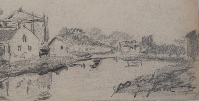 Windmill in Holland - Original pencil drawing - Signed - Gray Landscape Art by Johan Barthold Jongkind