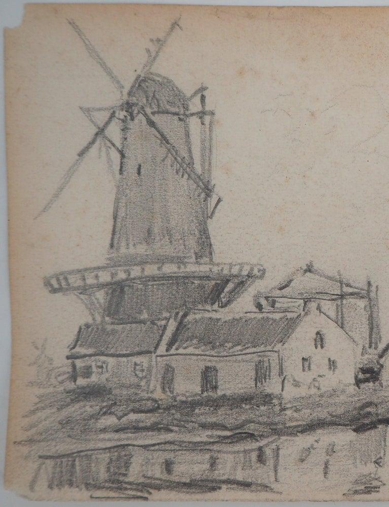 Windmill in Holland - Original pencil drawing - Signed - Impressionist Art by Johan Barthold Jongkind