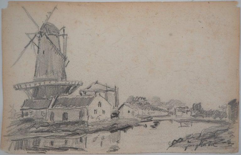Johan Barthold Jongkind Landscape Art - Windmill in Holland - Original pencil drawing - Signed