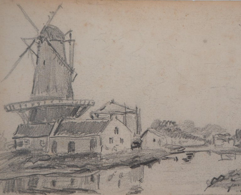 Windmill in Holland - Original pencil drawing - Signed - Art by Johan Barthold Jongkind