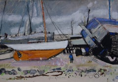 Fishing Port at the End of the Day - Original hansigned watercolor