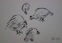 Four Guinea Fowls - Original hansigned ink drawing