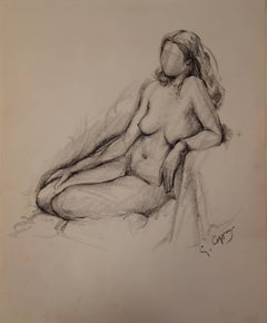 Nude on a Chair - Original signed charcoals drawing
