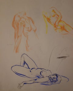Three Studies of a Resting Woman - Original signed charcoals drawing