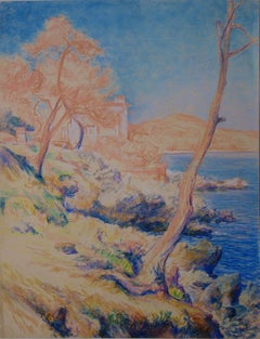 Savage Sea Coast near Saint Tropez - Original charcoals drawing