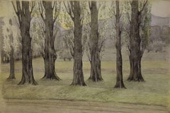 Trees near the Road - Original Watercolor and Charcoals Drawing