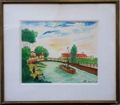 Surroundings of Paris : Near Seine River - Handsigned watercolor - circa 1950