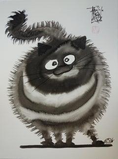 My Big Cat with a Ladybug - Handsigned Original Ink Drawing