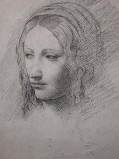 Tribute to Leonardo Da Vinci : Study of Woman Face - Original Pencil Drawing