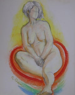 Nude Seated on Red Pillow - Original signed charcoals drawing