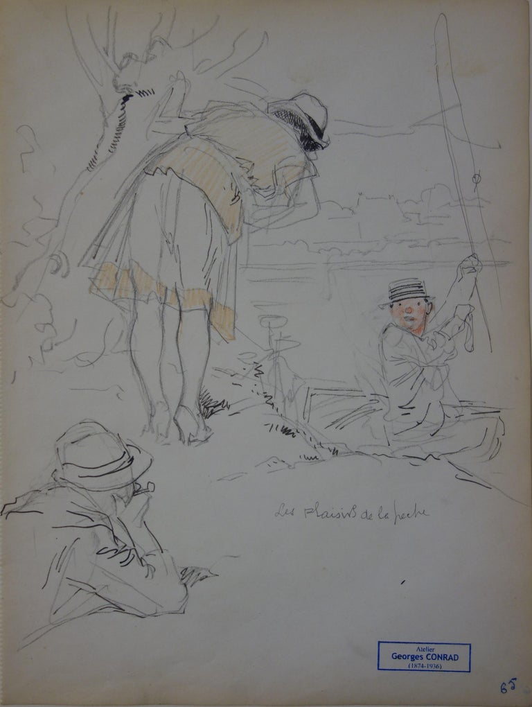 Georges Conrad Figurative Art - Fishing Party - Pencil drawing - circa 1914