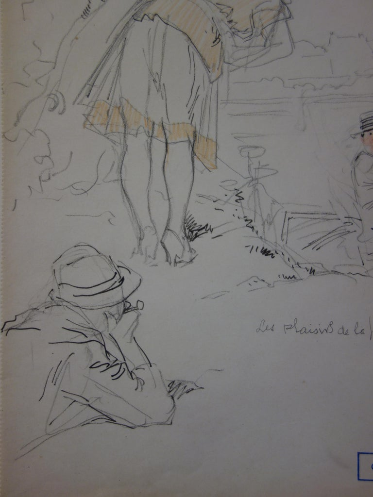 Fishing Party - Pencil drawing - circa 1914 - Gray Figurative Art by Georges Conrad