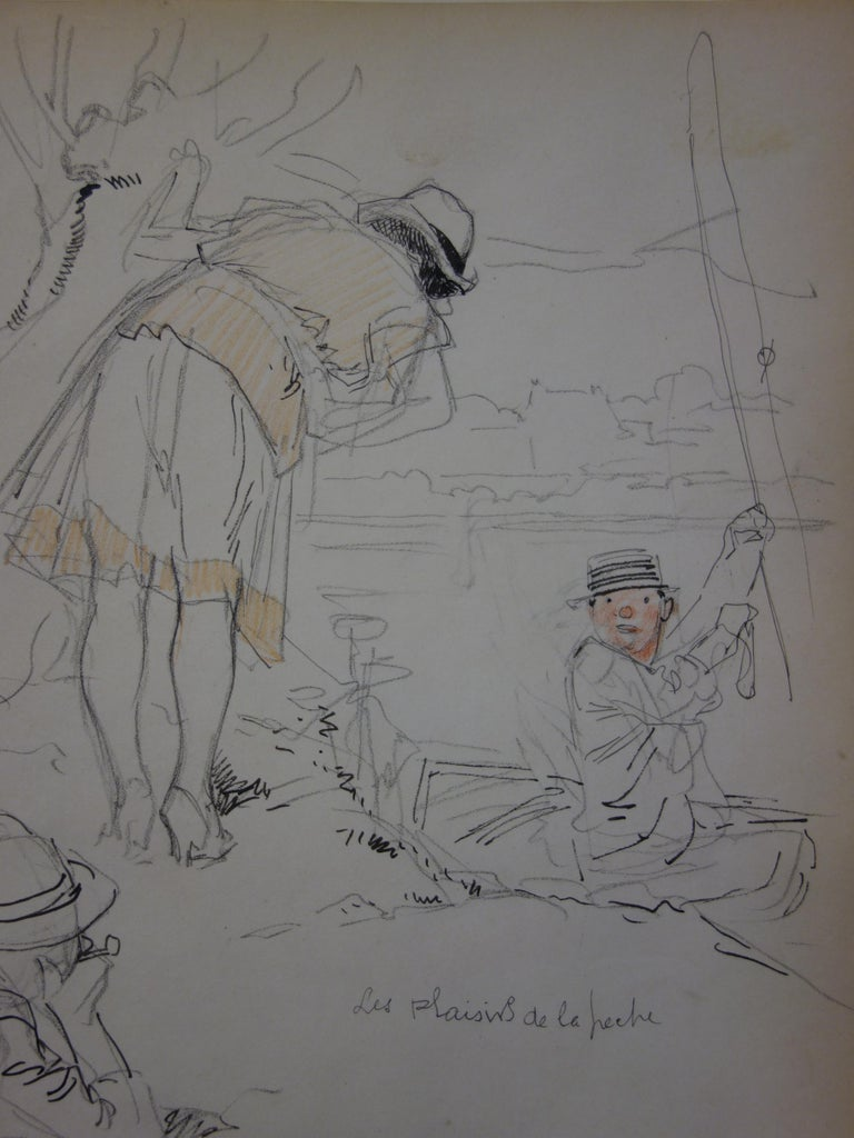 Fishing Party - Pencil drawing - circa 1914 - Academic Art by Georges Conrad