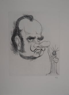 Caricature of Salvador Dali as President Nixon - Handsigned etching, 1971