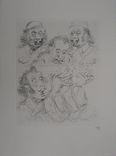 Caricature of Salvador Dali as Fidel Castro - Handsigned etching, 1971