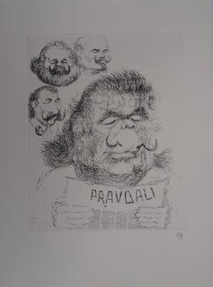 Caricature of Salvador Dali as a Soviet leader - Handsigned etching, 1971