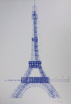 Eiffel Tower In Payed Stamps - Handsigned Screen Print