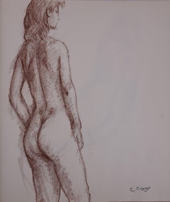 Mary Revealing her Shoulders - Original charcoals drawing