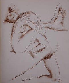 Four Studies of Nude - Original charcoals drawing