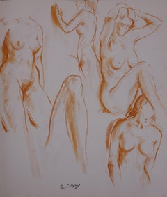Studies of a Model in the Workshop - Original charcoals drawing