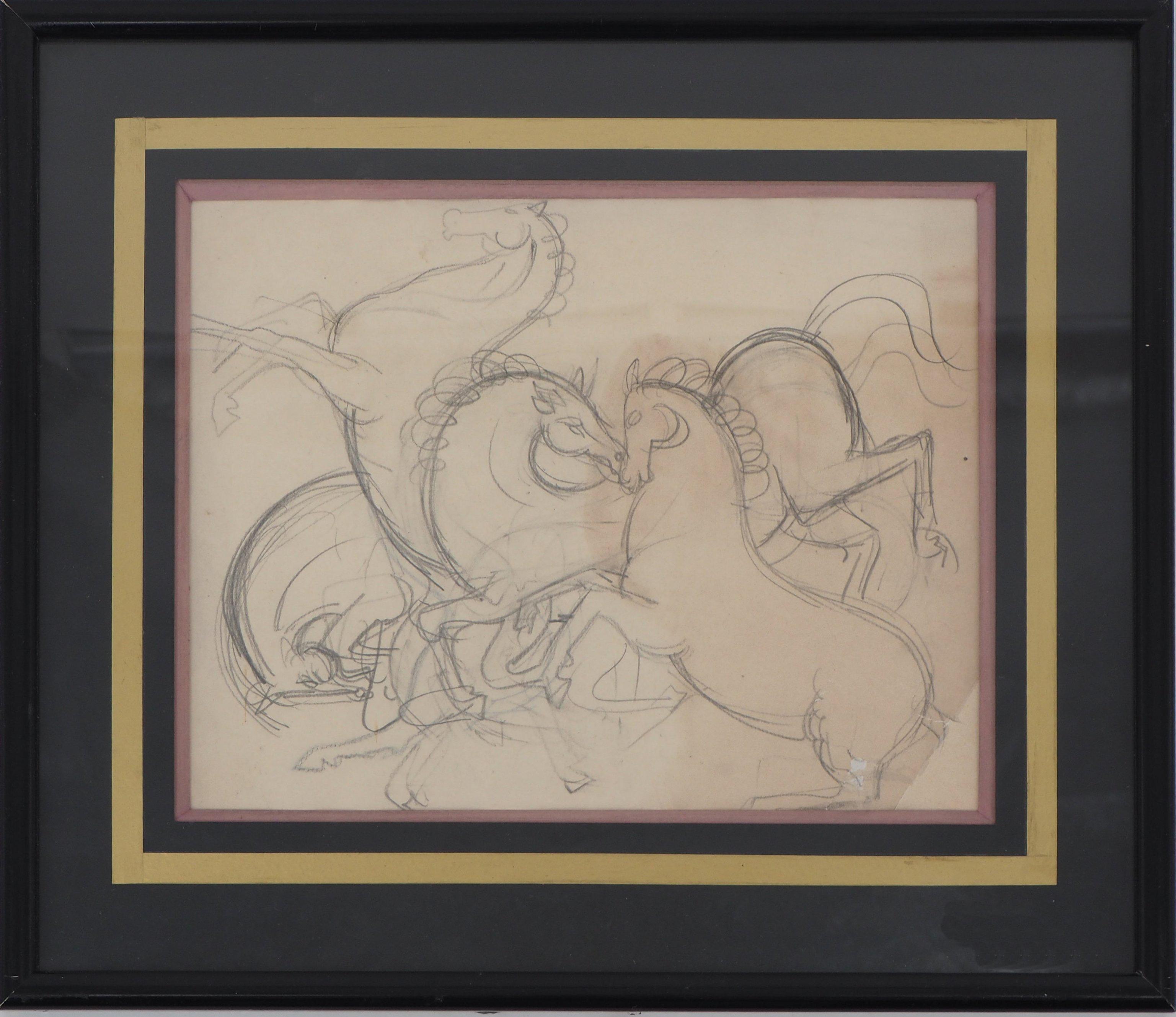 Prancing Horses - Original pencil drawing