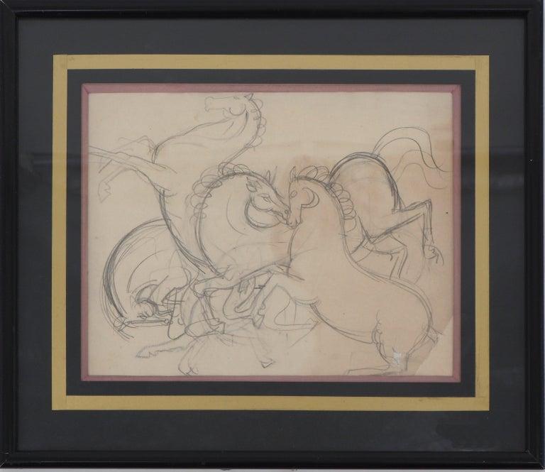 André Lhote Animal Art - Prancing Horses - Original pencil drawing